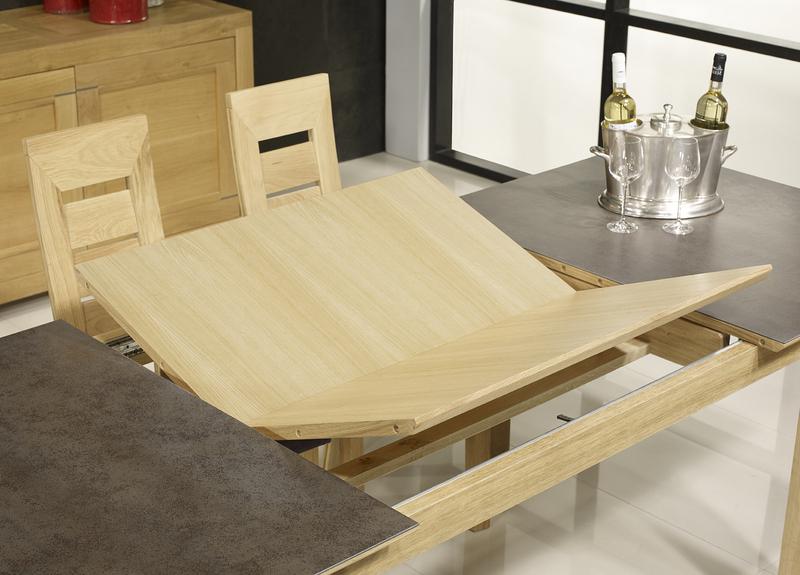 Table rectangulaire gaspard en ch ne plateau ceramique 1 for Table ceramique bois