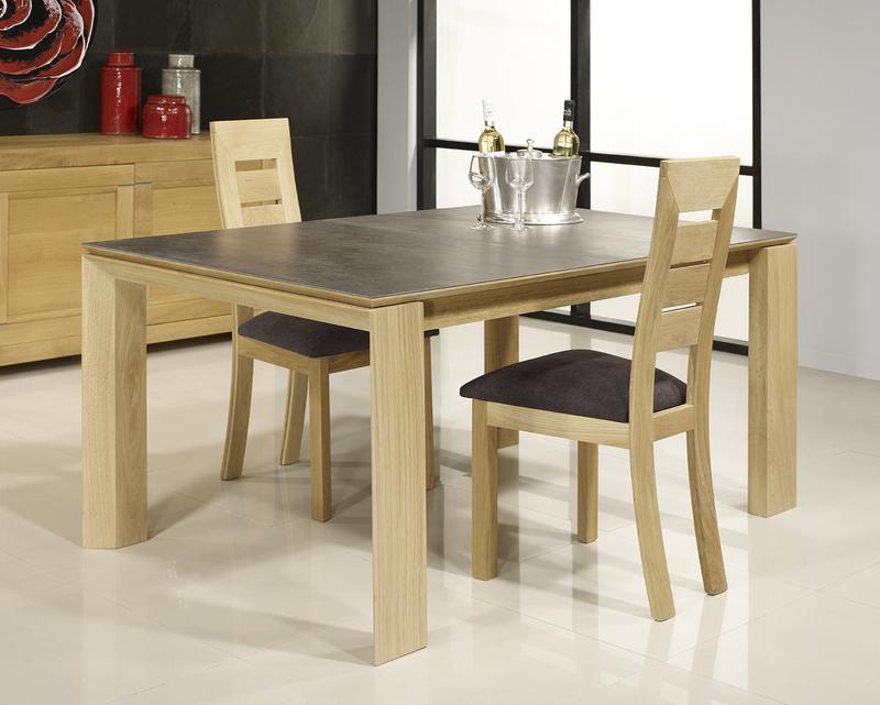 table rectangulaire gaspard en ch ne plateau ceramique 1. Black Bedroom Furniture Sets. Home Design Ideas