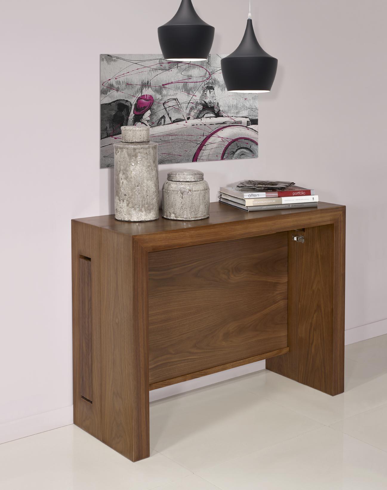 console extensible en noyer contemporaine 4 allonges meuble en merisier massif. Black Bedroom Furniture Sets. Home Design Ideas