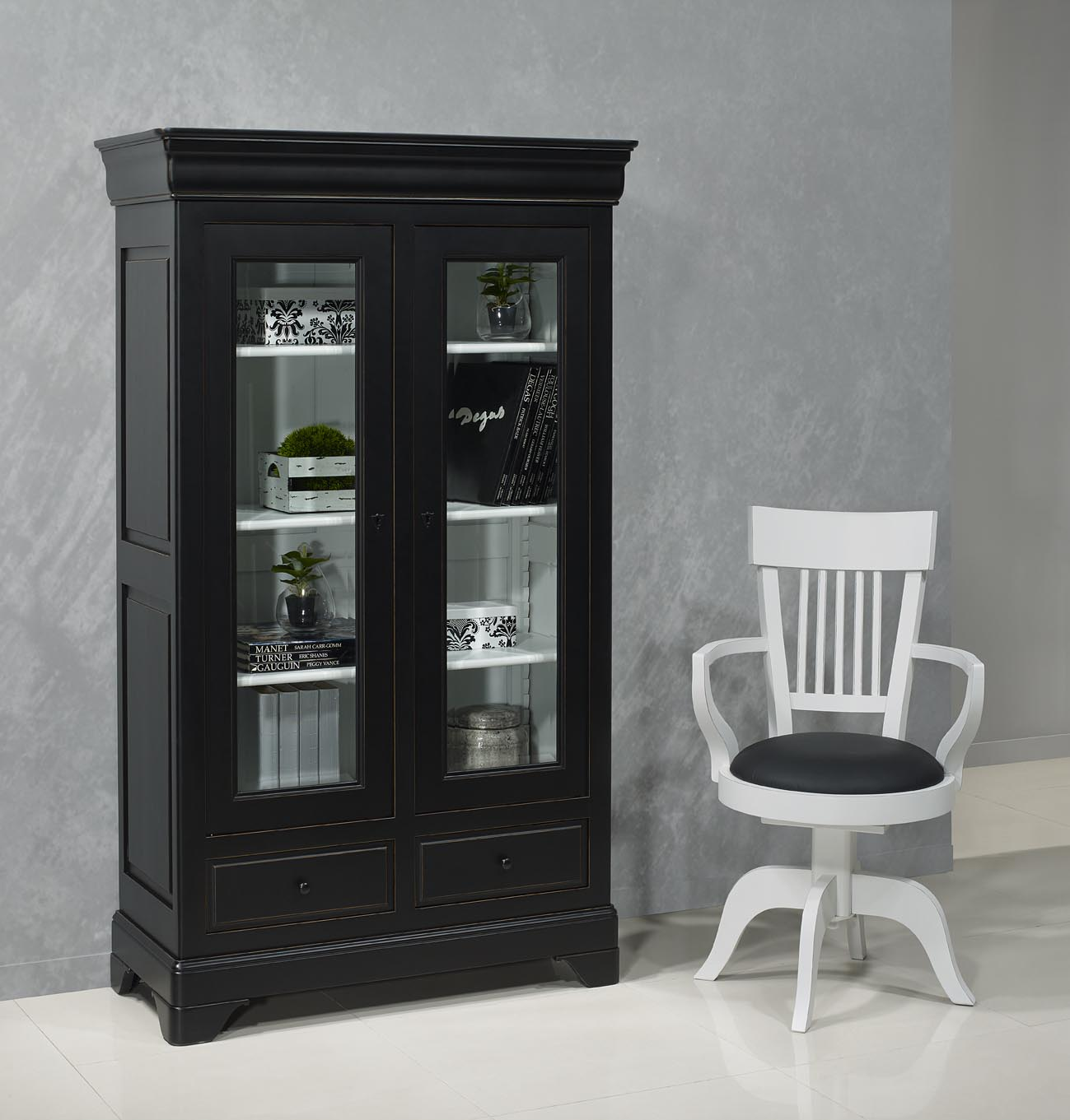 Biblioth que 2 portes en merisier massif de style louis for Meuble 2 porte noir