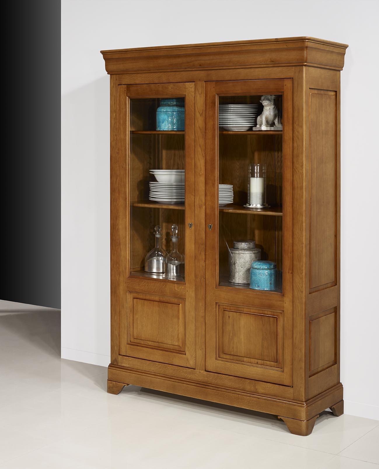 biblioth que 2 portes en ch ne massif de style louis philippe finition ch ne moyen meuble en. Black Bedroom Furniture Sets. Home Design Ideas