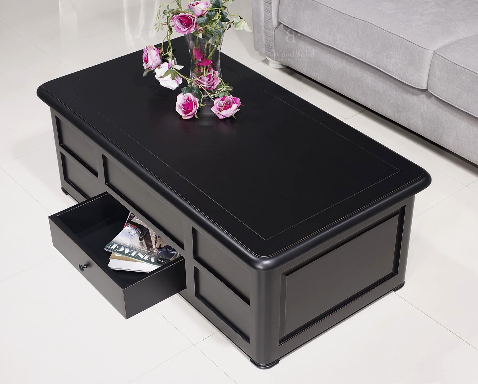 table basse bar ine en merisier de style louis philippe laqu noir meuble en merisier massif. Black Bedroom Furniture Sets. Home Design Ideas