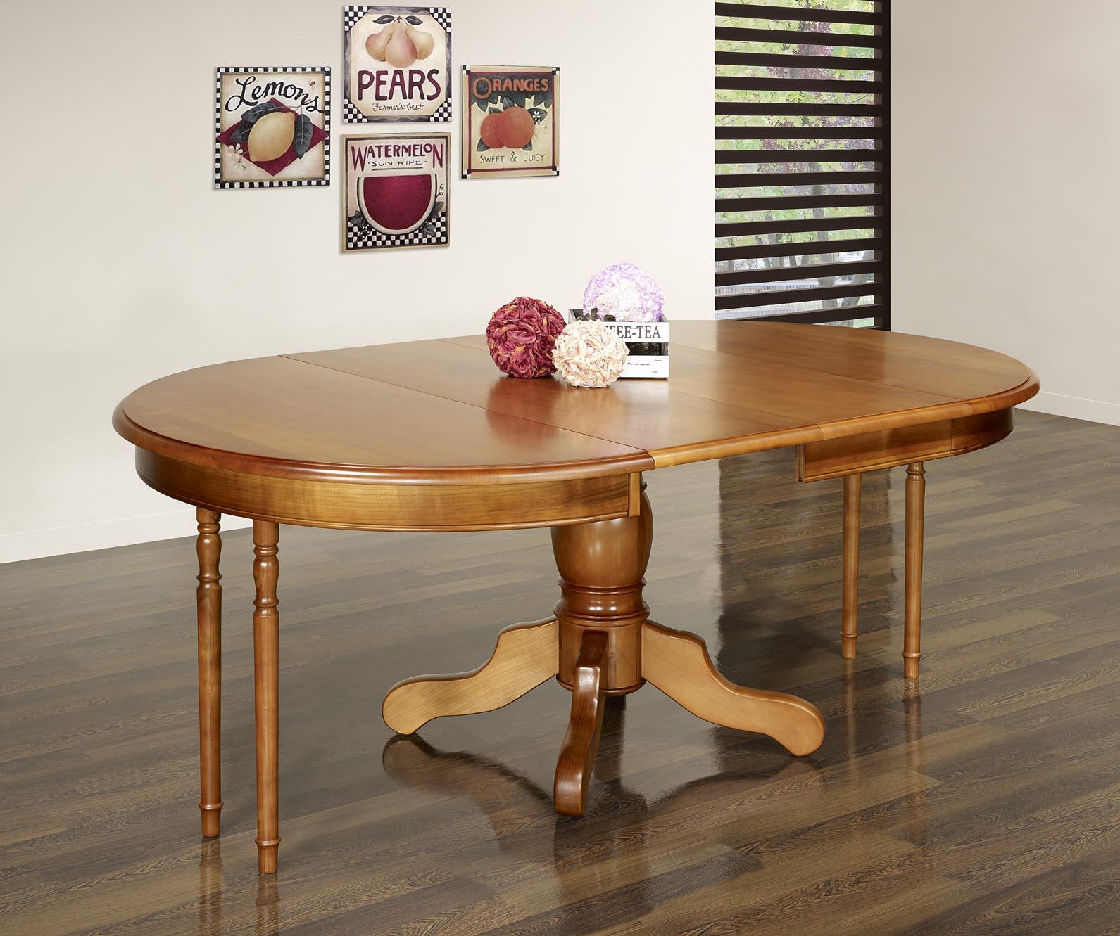 Table ronde pieds central sandra en merisier massif de for Table ronde bois massif pied central
