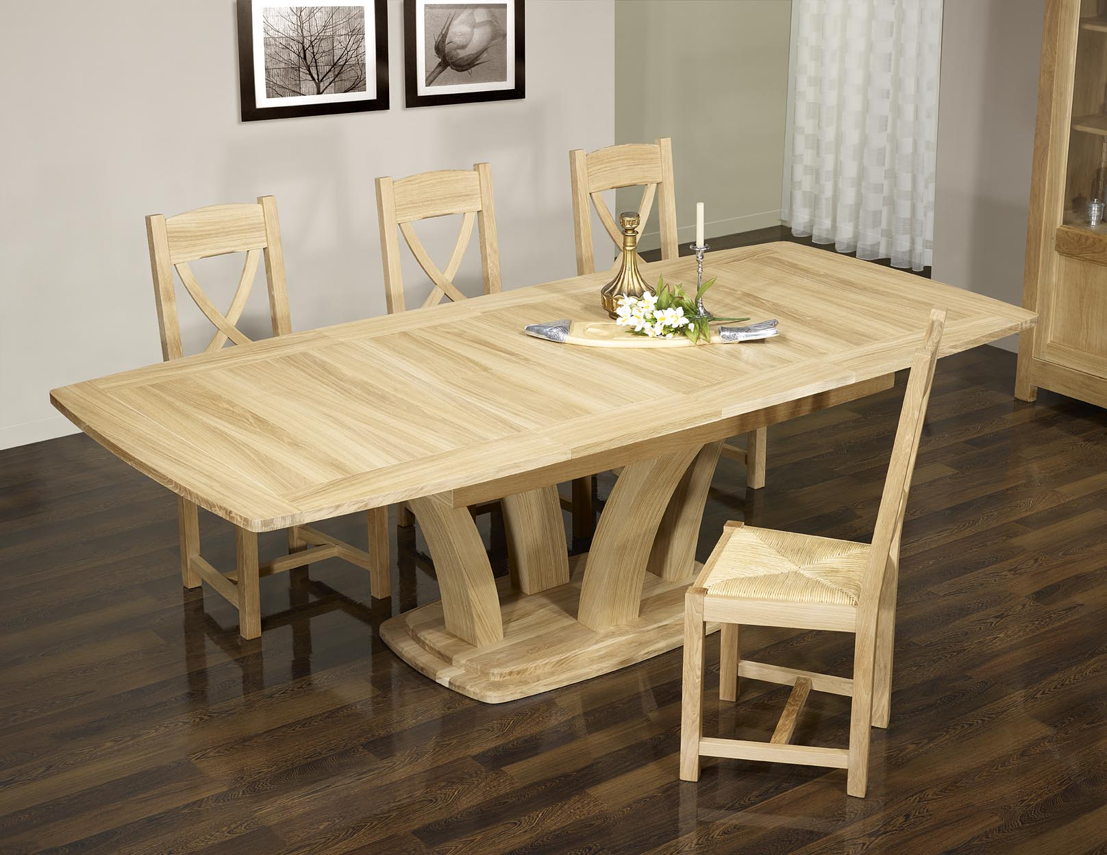 Table de repas contemporaine en ch ne massif finition - Table bois massif contemporaine ...