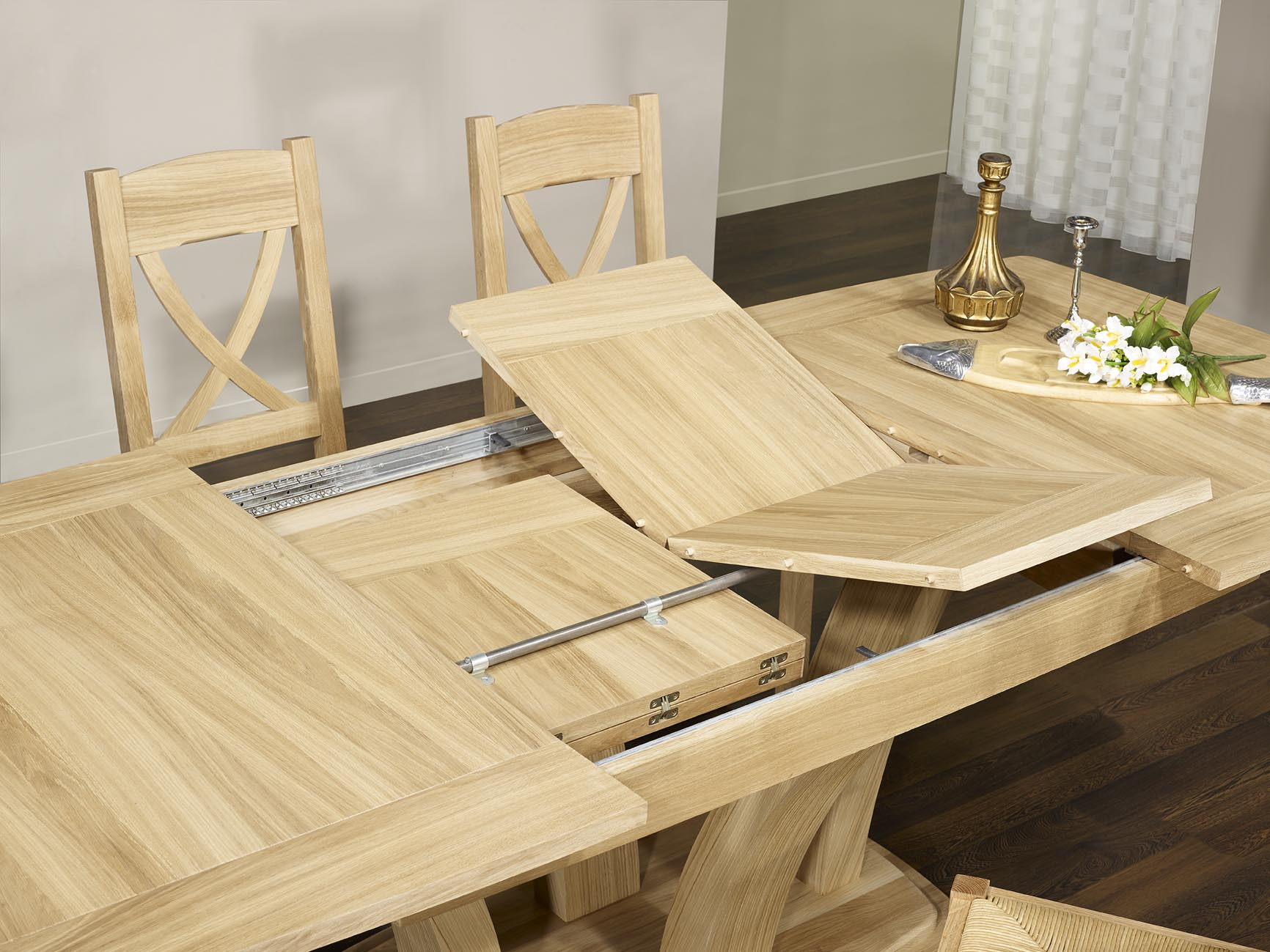 Table de repas contemporaine en ch ne massif finition ch ne bross naturel - Table en chene massif prix ...