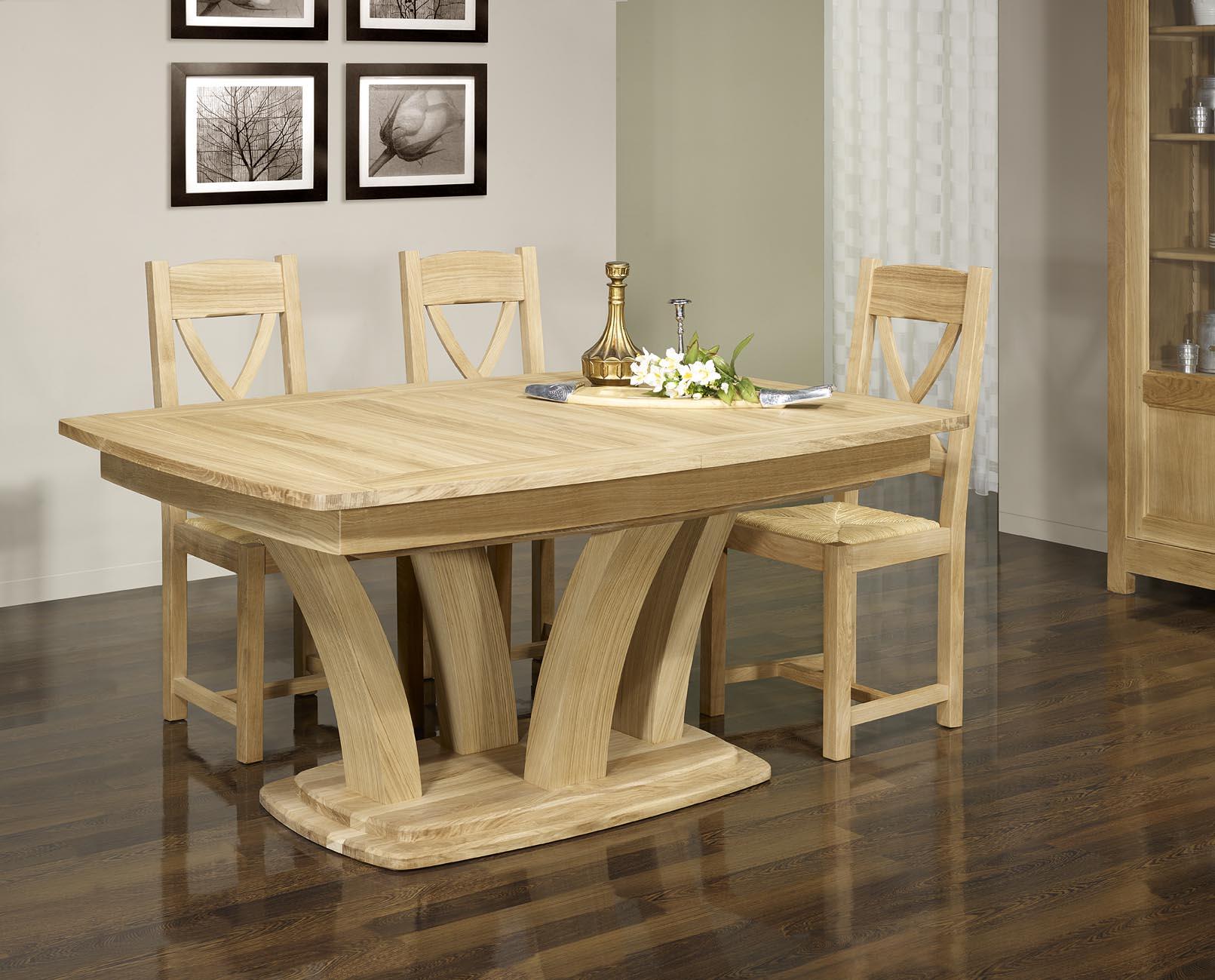 table de repas contemporaine en ch ne massif finition ch ne bross naturel meuble en ch ne massif. Black Bedroom Furniture Sets. Home Design Ideas