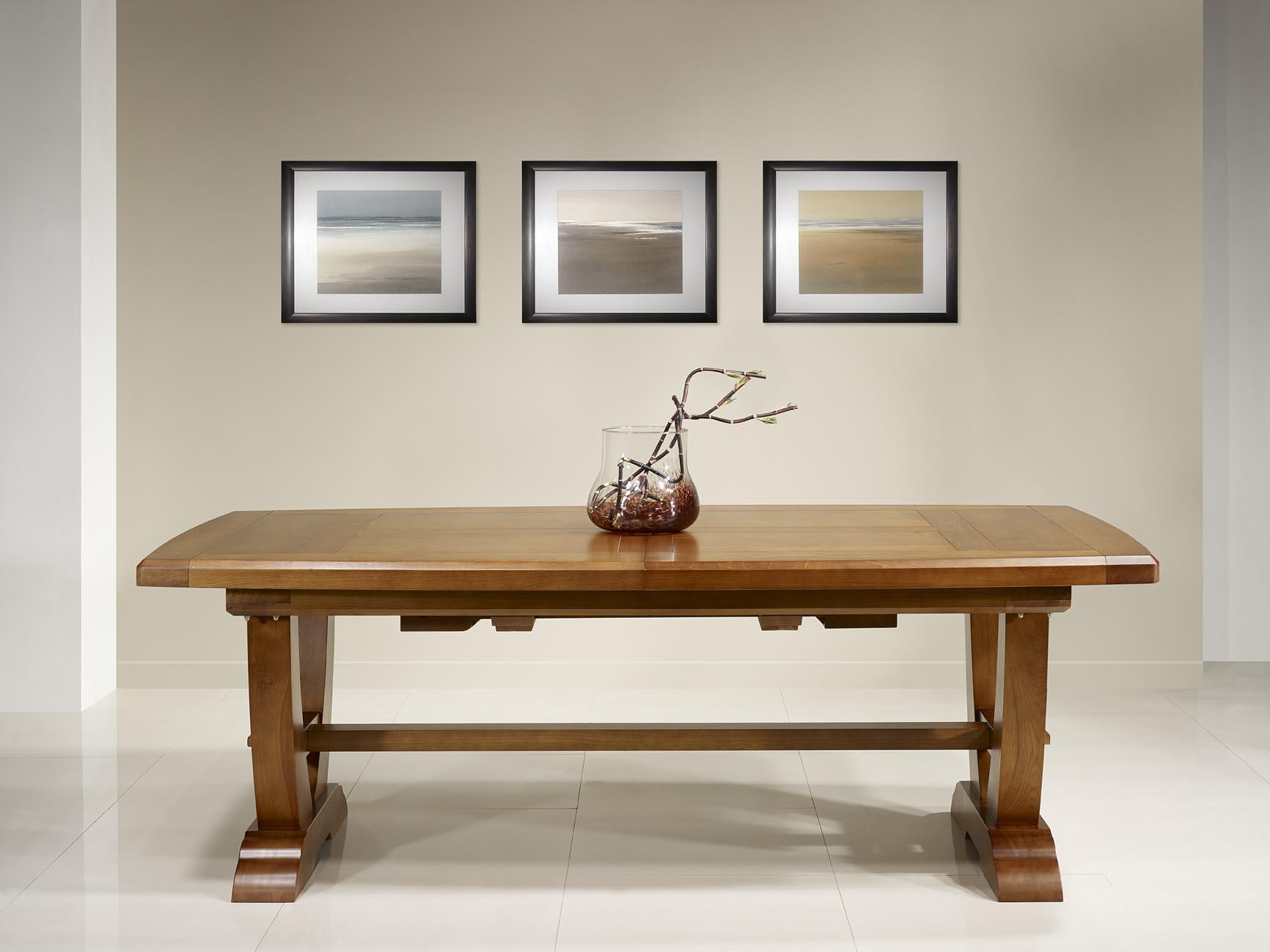 table monast re eliot 220x110 en ch ne massif 2 allonges de 45 cm meuble en ch ne massif. Black Bedroom Furniture Sets. Home Design Ideas