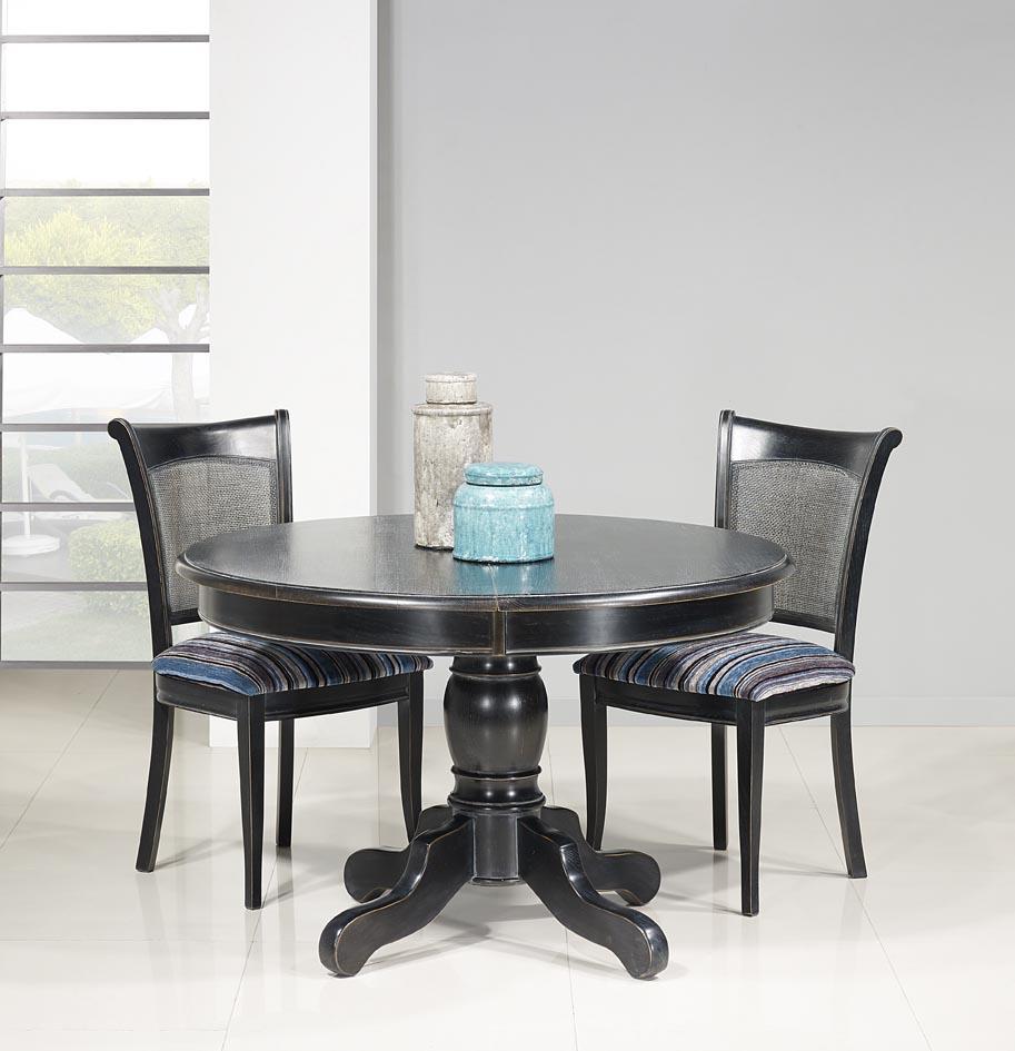 table ronde pied central en ch ne massif de style louis philippe diametre 120 finition charbon. Black Bedroom Furniture Sets. Home Design Ideas