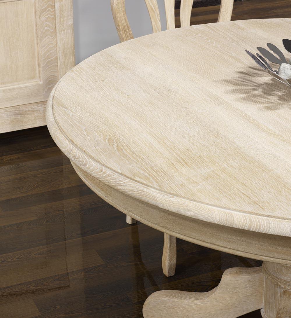 Table ronde maude pieds central diametre 140 en ch ne for Meuble en orme massif blanchi