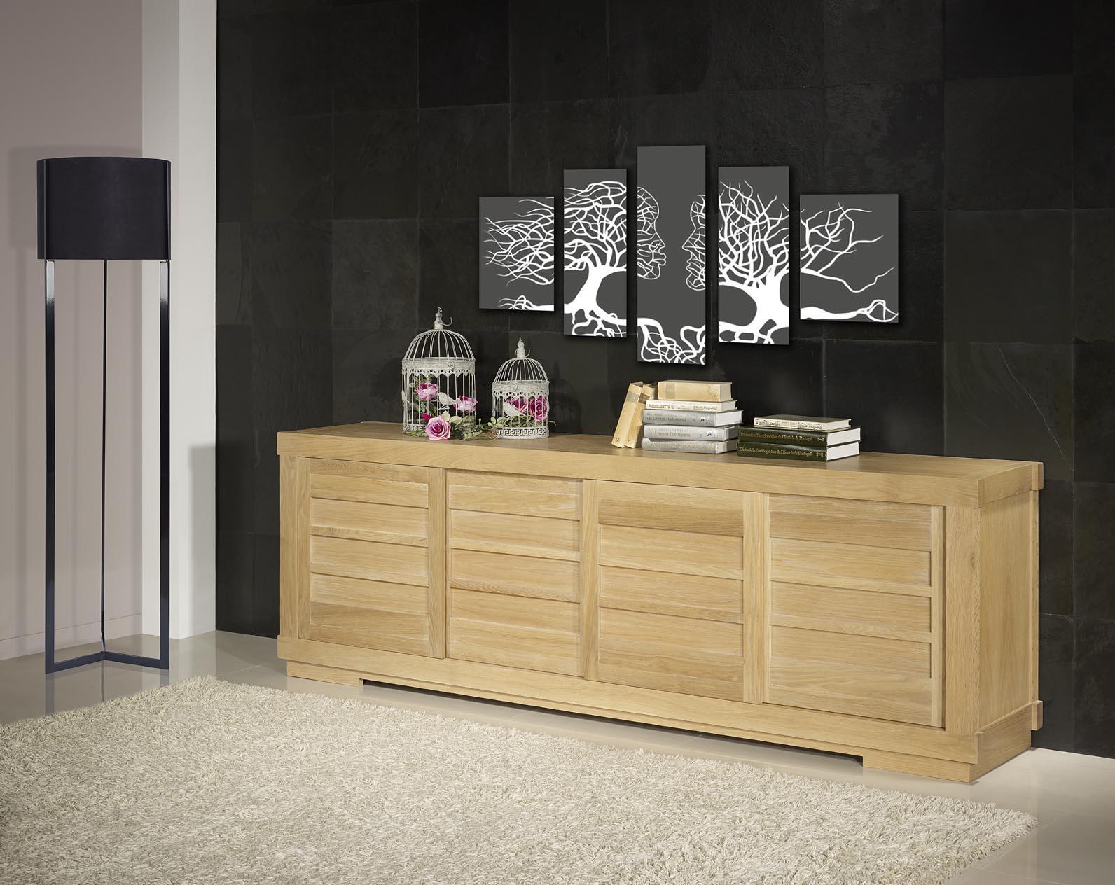 buffet 4 portes coulissantes en ch ne massif de style contemporain vintage meuble en ch ne massif. Black Bedroom Furniture Sets. Home Design Ideas