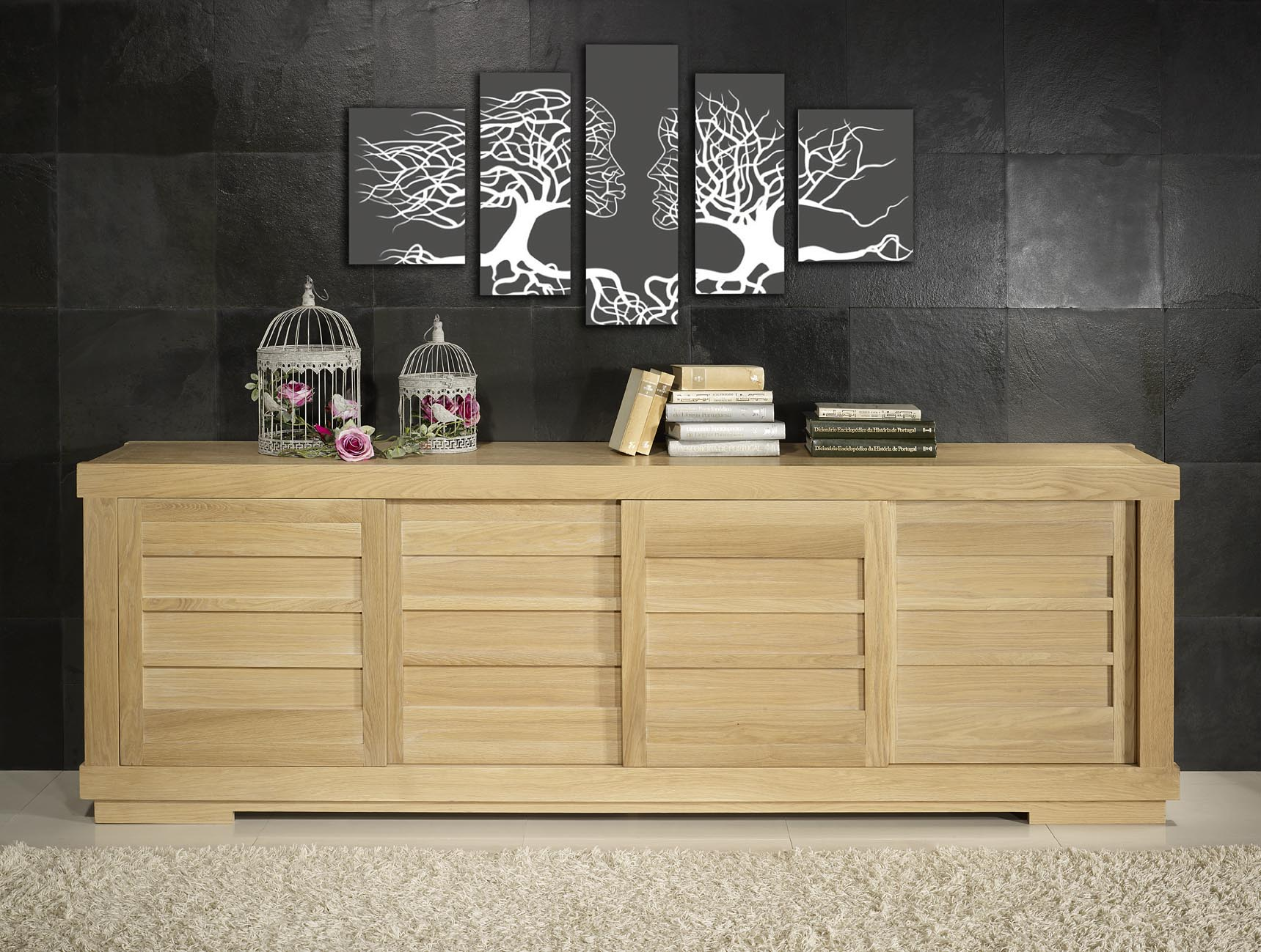 buffet 4 portes coulissantes en ch ne massif de style. Black Bedroom Furniture Sets. Home Design Ideas