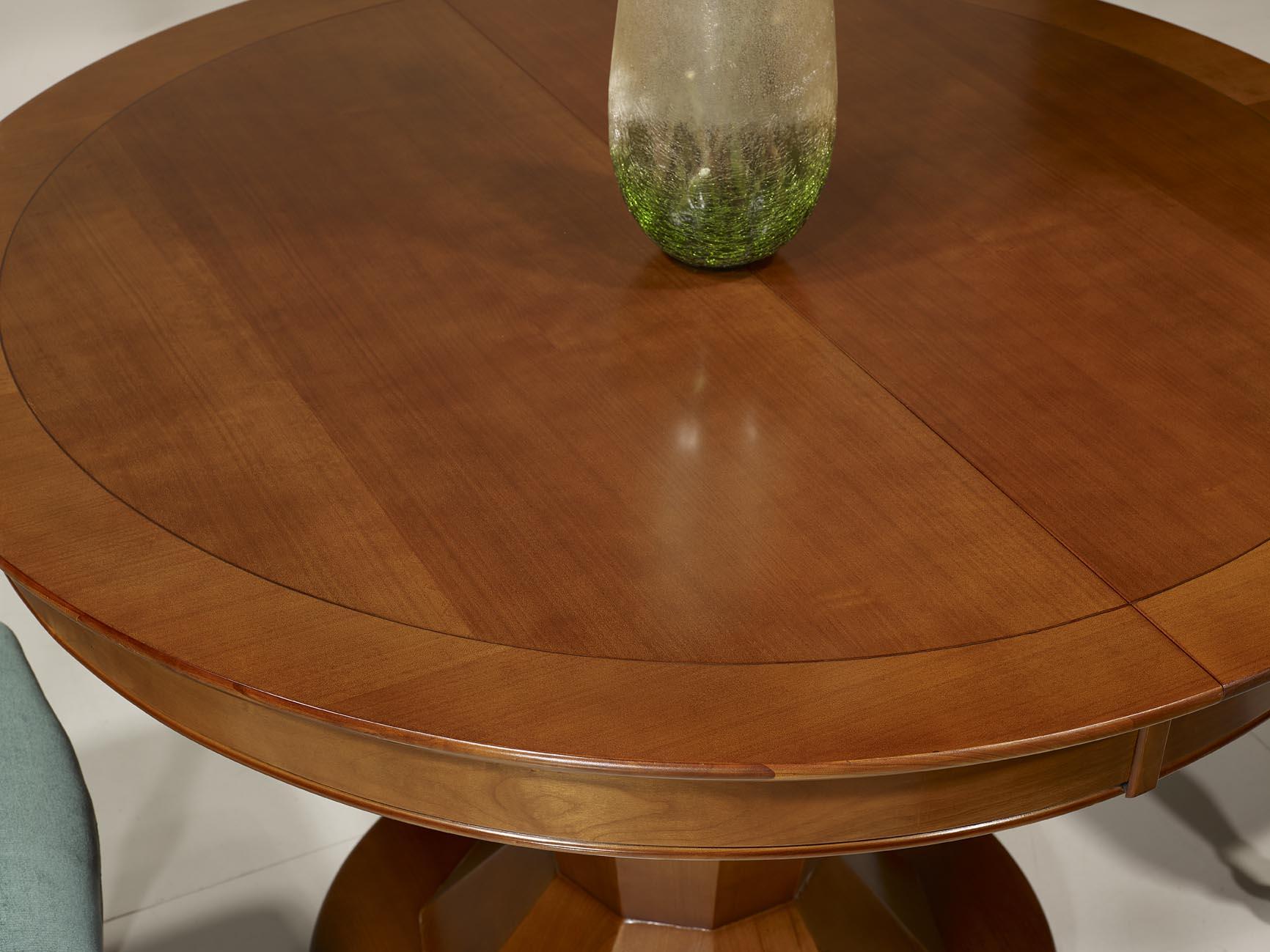 table ronde pied central en merisier de style contemporain. Black Bedroom Furniture Sets. Home Design Ideas