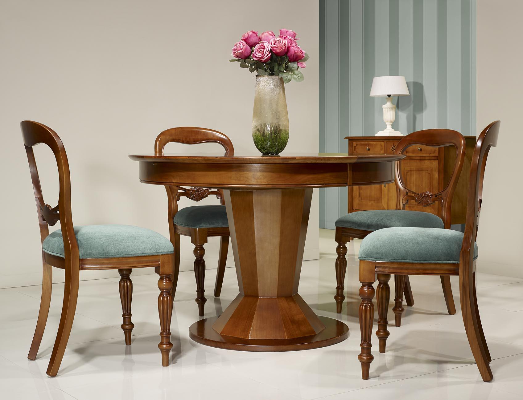 Table ronde pied central en merisier de style contemporain for Table ronde bois massif pied central