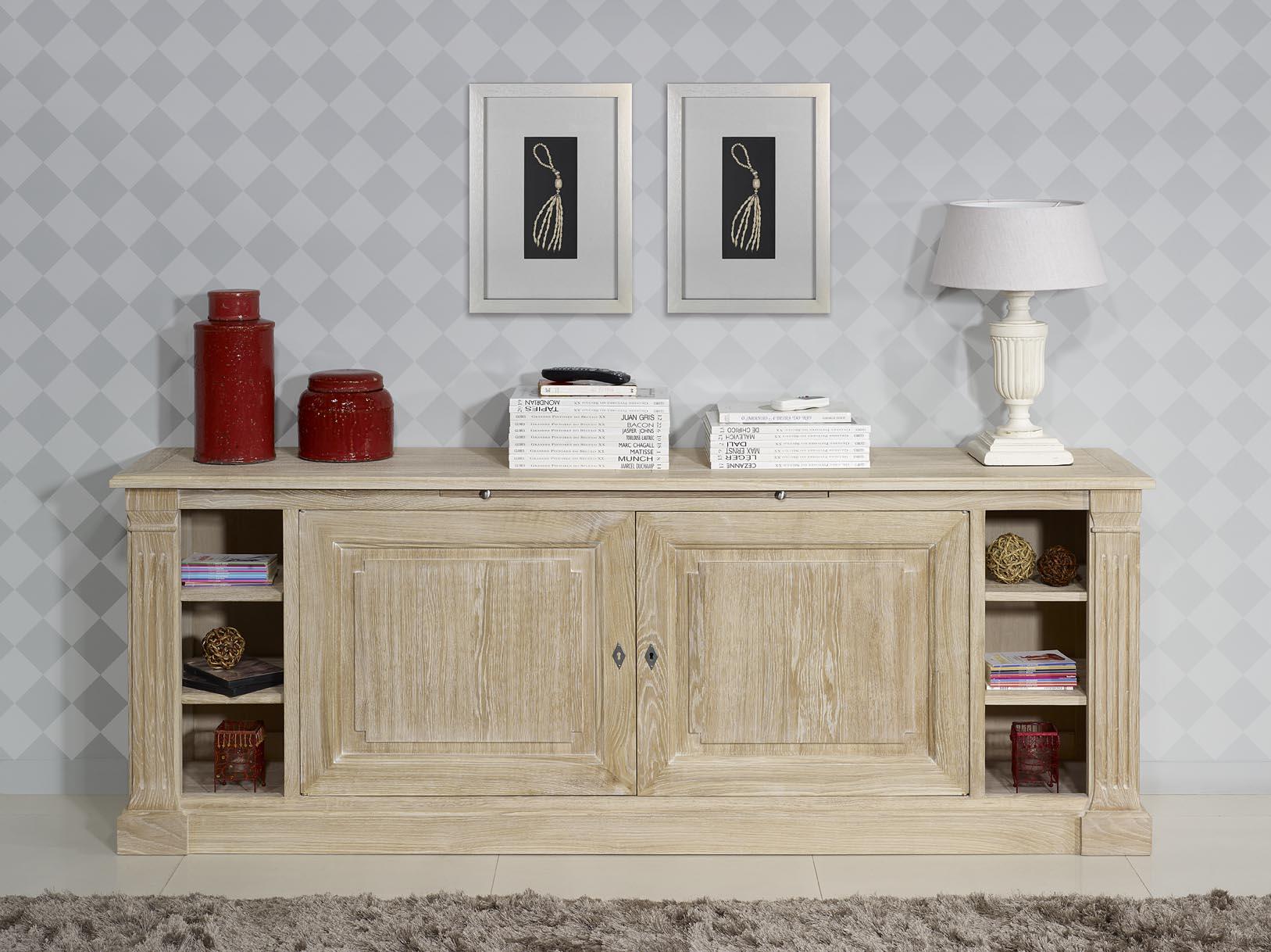 meuble d 39 entr e ou buffet bastien en ch ne de style directoire finition ch ne bross blanchi. Black Bedroom Furniture Sets. Home Design Ideas