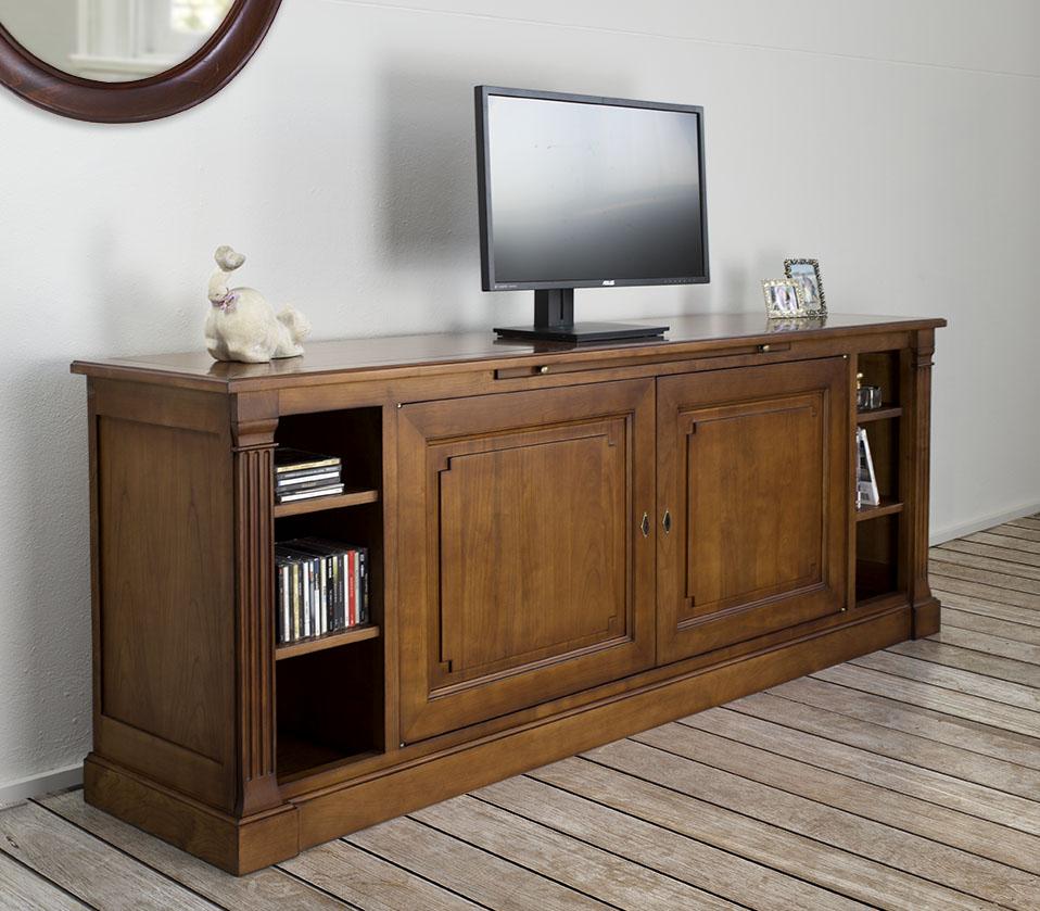 Meuble tv lucie en merisier de style directoire finition for Finition de meuble