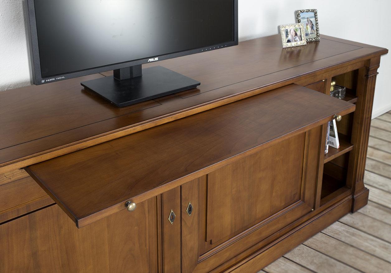 meuble tv lucie en merisier de style directoire finition. Black Bedroom Furniture Sets. Home Design Ideas