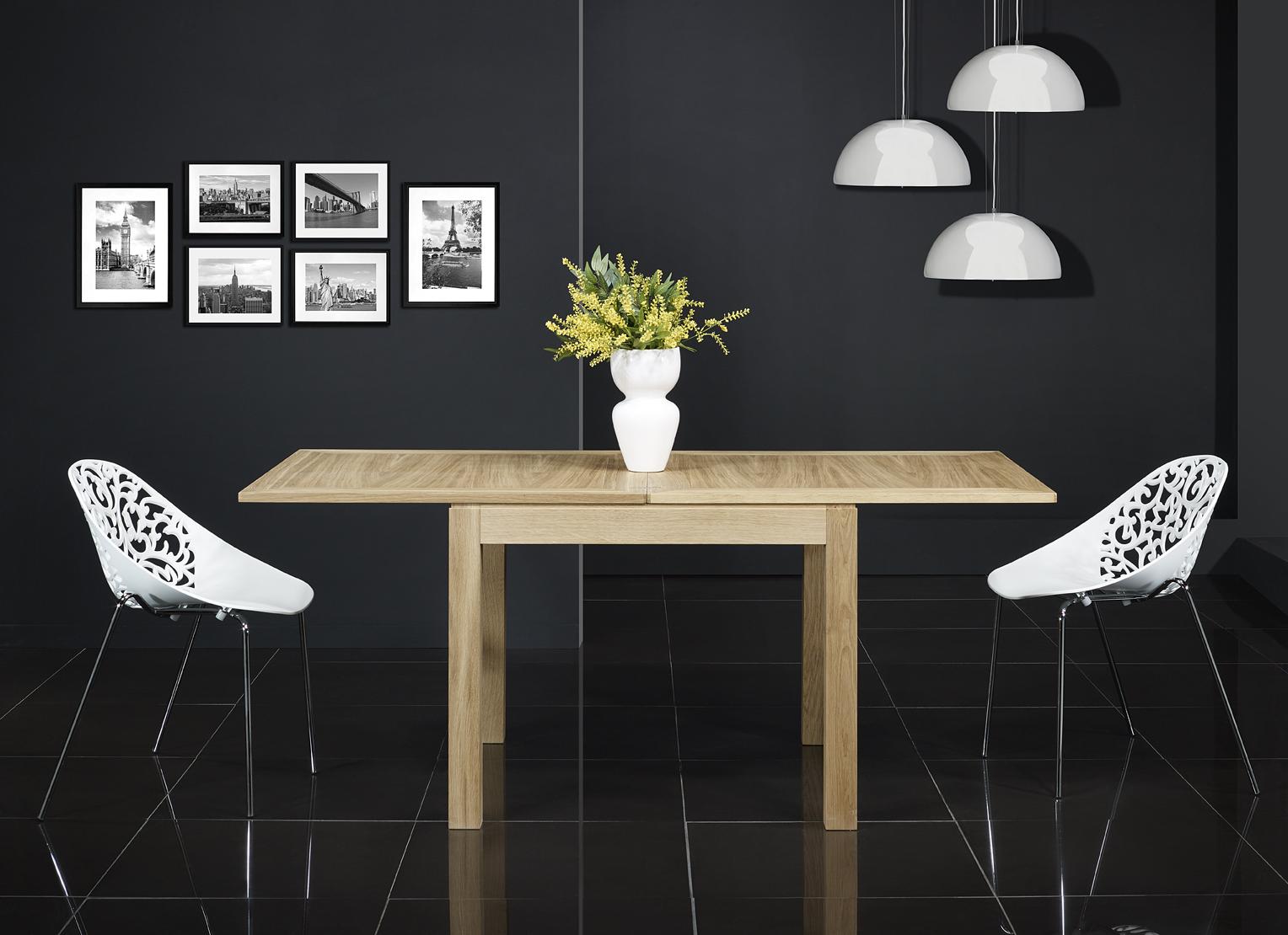 Table de repas 90x90 en ch ne massif de style contemporain for Meuble 90x90