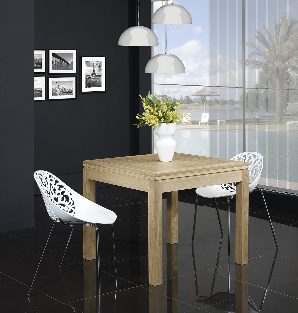 table de repas 90x90 en ch ne massif de style contemporain plateau ouvert 180x90 meuble en. Black Bedroom Furniture Sets. Home Design Ideas