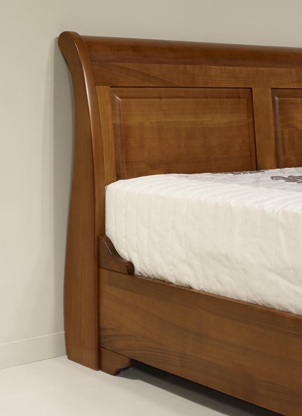 lit bateau jean christian en merisier massif 140x190 de style louis philippe meuble en. Black Bedroom Furniture Sets. Home Design Ideas