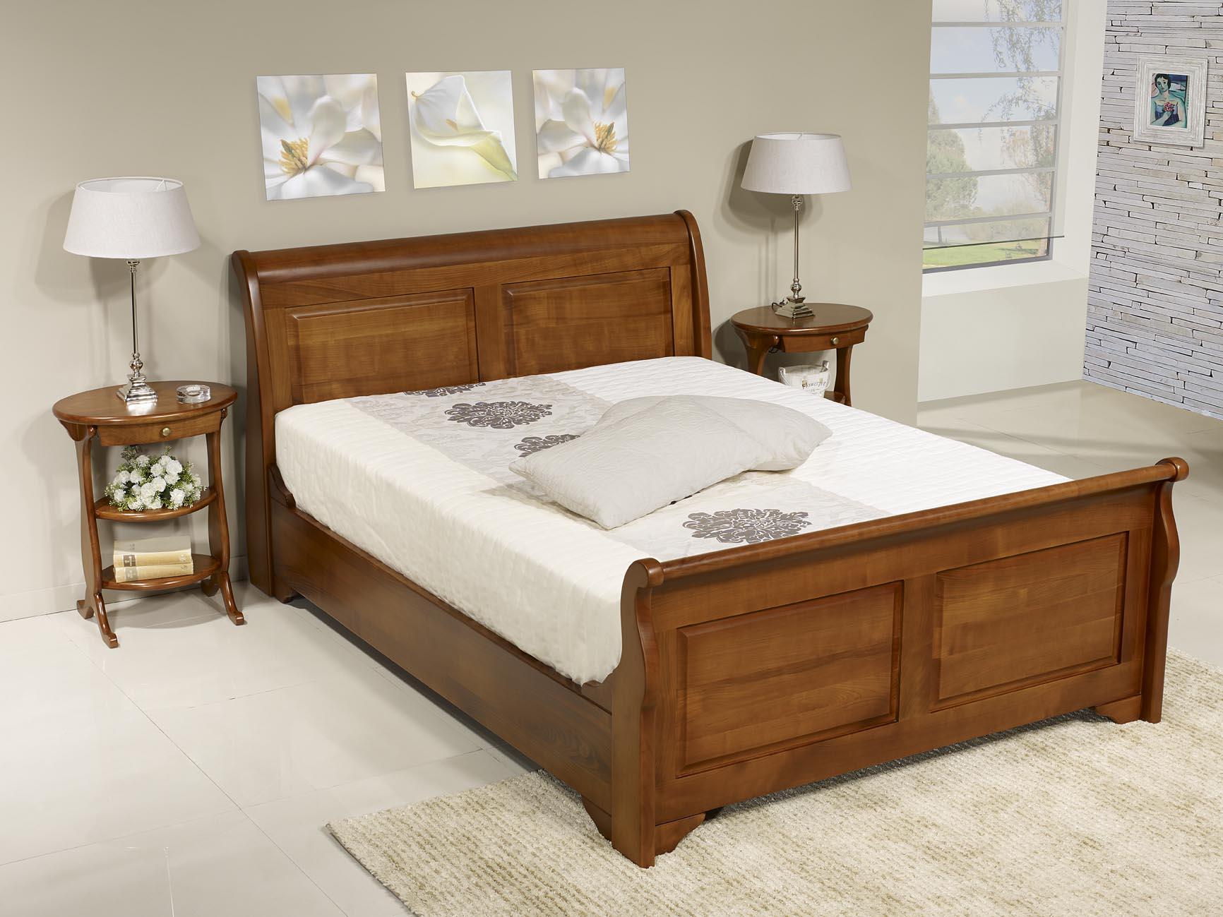 Lit bateau jean christian en merisier massif 140x190 de style louis philippe meuble en for Meuble design lit