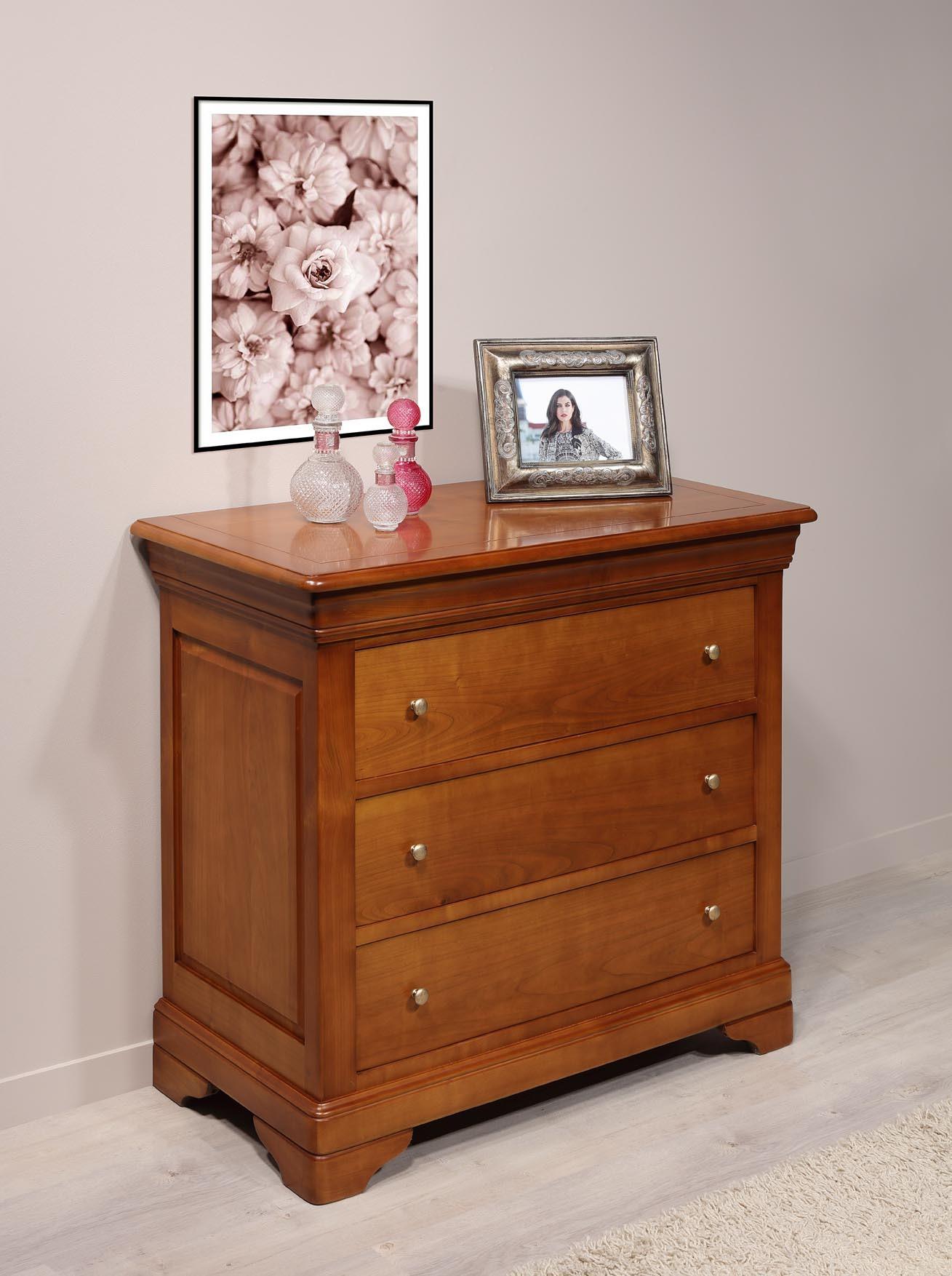 Commode 3 tiroirs am lie en merisier massif de style louis philippe largeur 105 cm meuble en - Commode louis philippe merisier ...