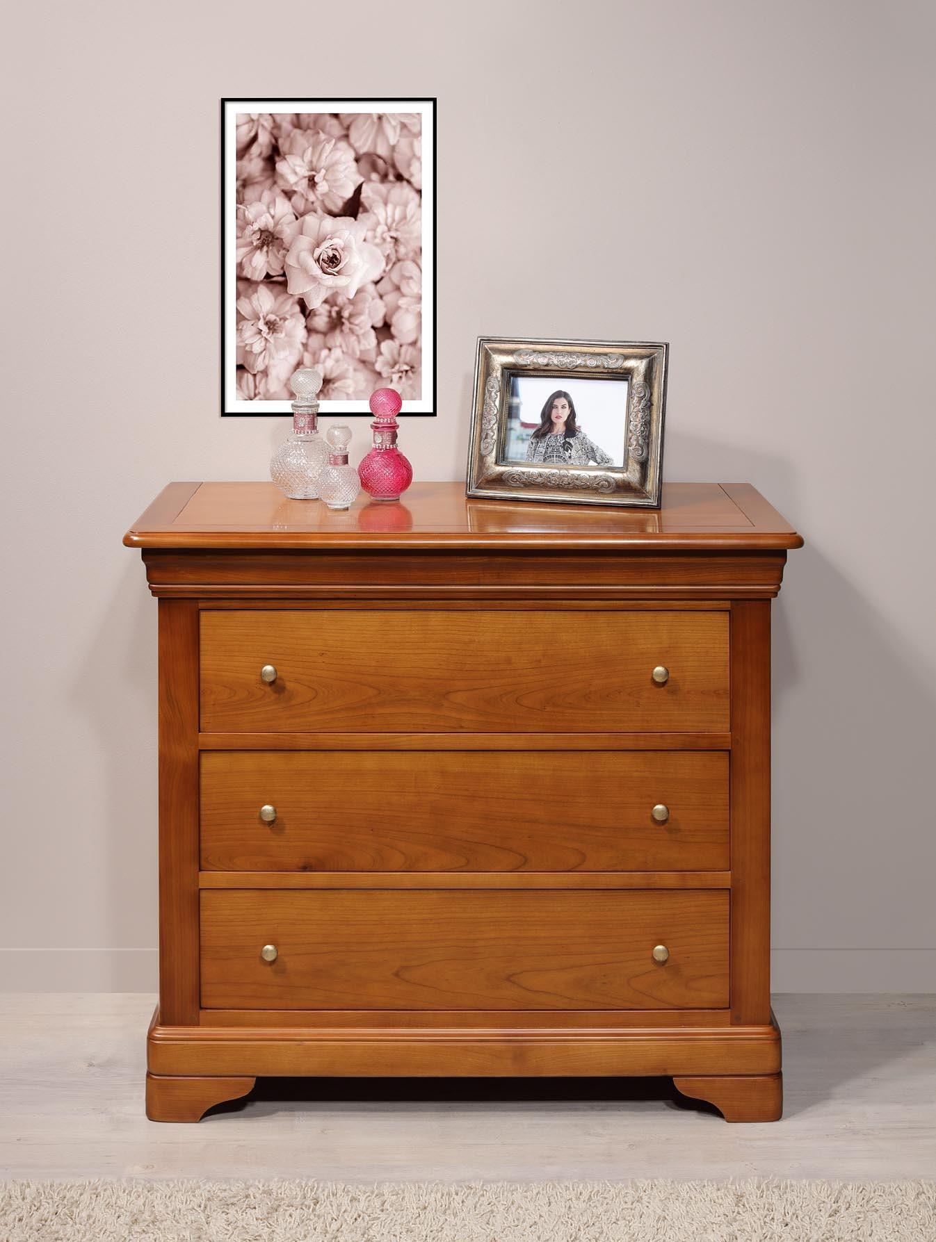 63a537cd1afd45 Commode 3 tiroirs Amélie en Merisier Massif de style Louis Philippe , meuble  en Merisier massif