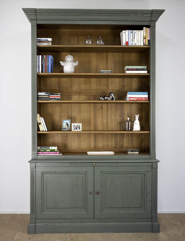biblioth que 2 corps sylvain en ch ne massif de style directoire finition vert antik meuble en. Black Bedroom Furniture Sets. Home Design Ideas