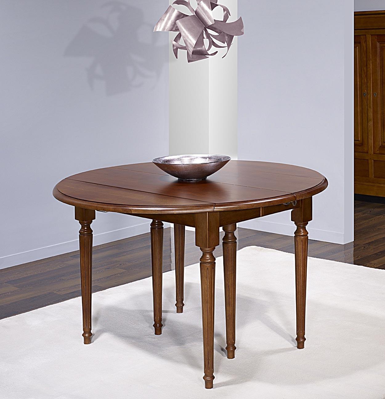 table ronde volets vera en ch ne massif de style louis xvi avec 3 allonges de 40 cm meuble. Black Bedroom Furniture Sets. Home Design Ideas
