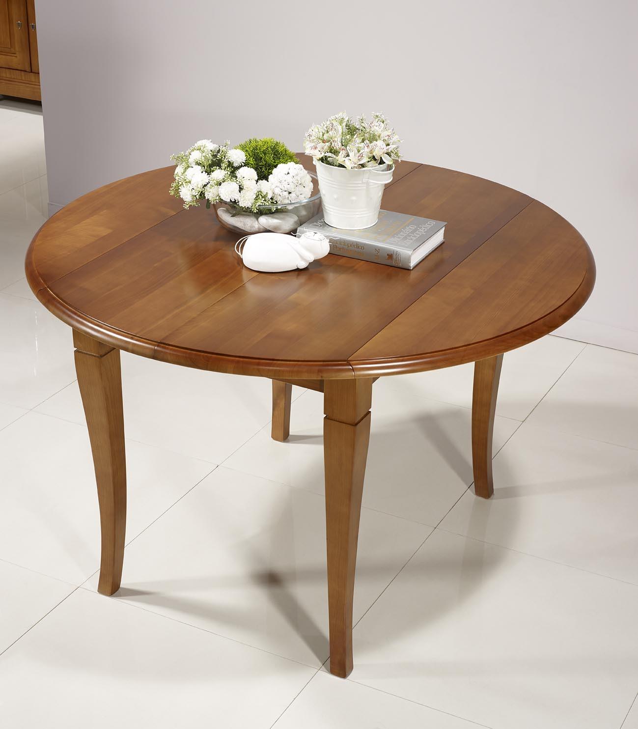 Table ronde volets en merisier massif de style louis for Table ronde en bois massif avec rallonge