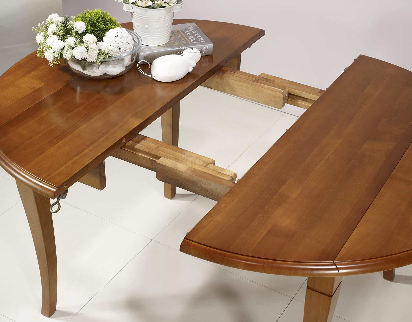 Table ronde volets en merisier massif de style louis for Table ronde bois massif