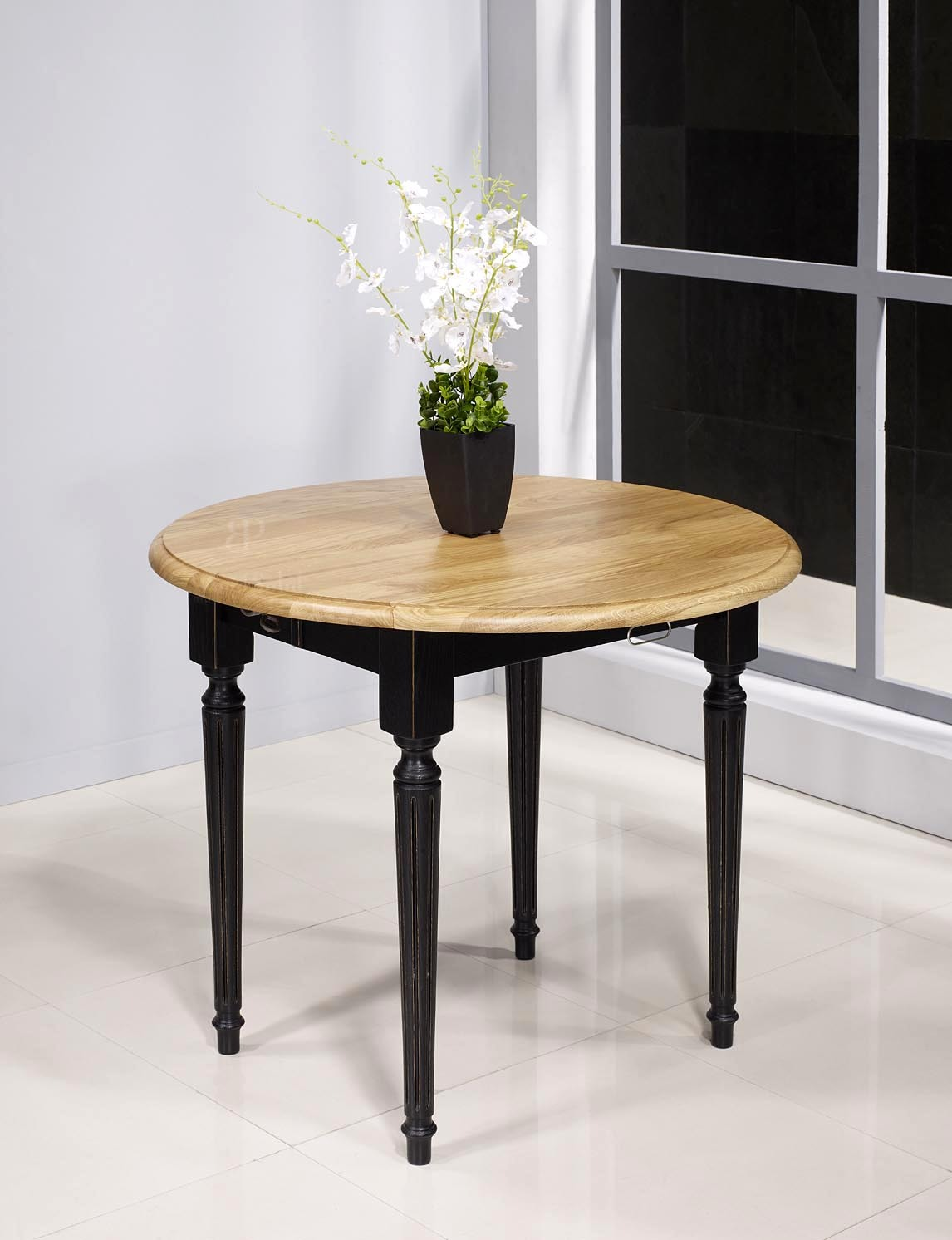 Table ronde volets diam tre 90 en ch ne massif de style for Table ronde noire avec rallonge