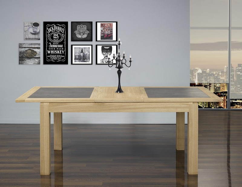 Table de repas rectangulaire 160x100 math o en ch ne ligne contemporaine plateau avec c ramique for Tables de repas contemporaines