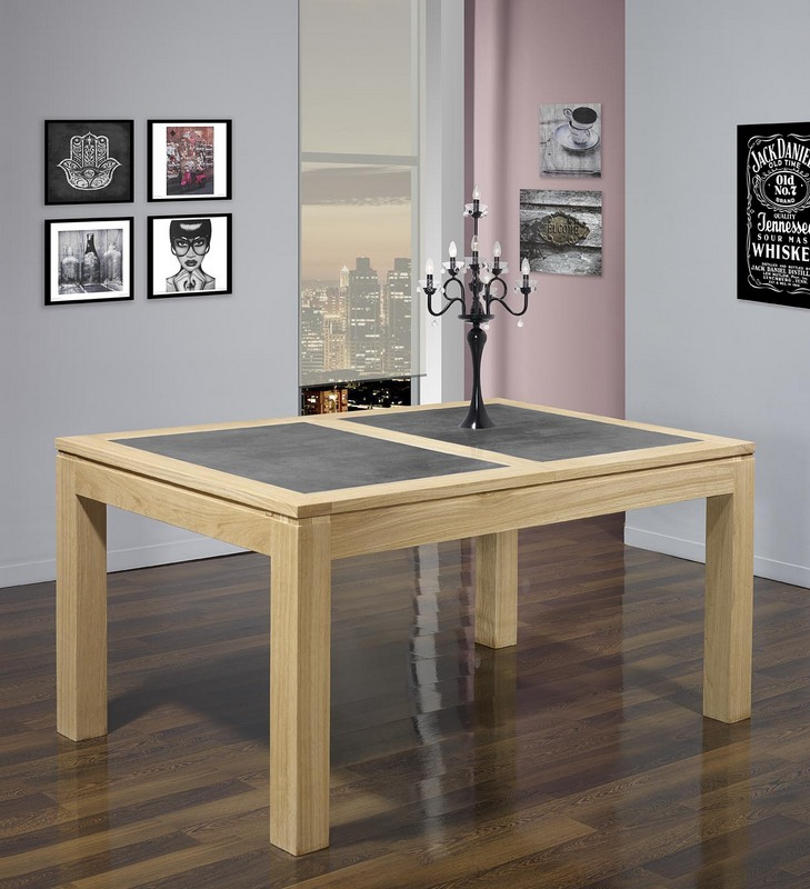 table de repas rectangulaire 160x100 math o en ch ne ligne contemporaine plateau avec c ramique. Black Bedroom Furniture Sets. Home Design Ideas