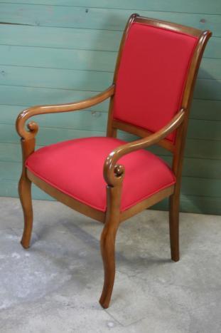 fauteuil crosse de style louis philippe tissu rouge. Black Bedroom Furniture Sets. Home Design Ideas