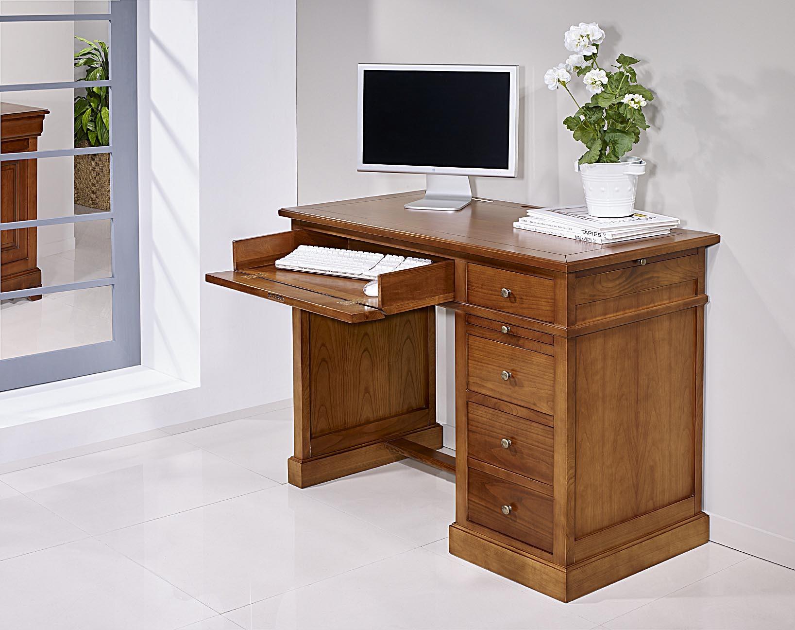 Petit bureau lucie en merisier de style louis philippe for Meuble bureau bois massif