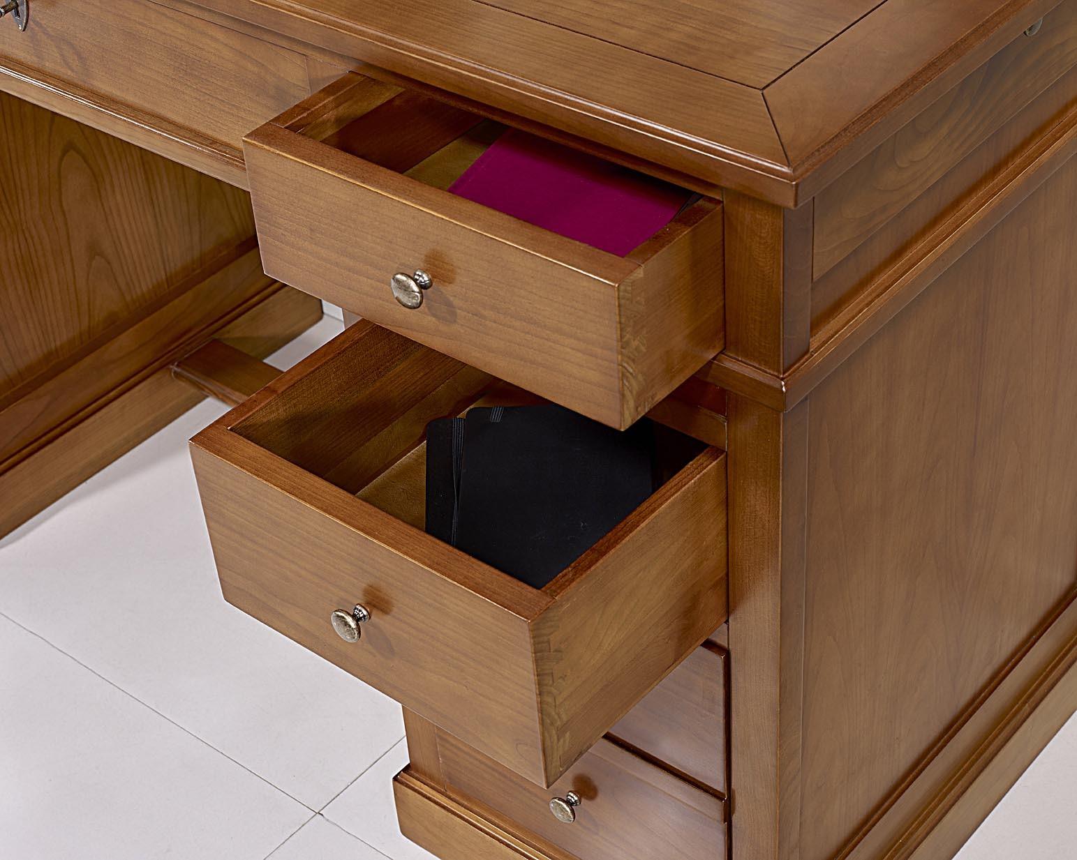 petit bureau lucie en merisier de style louis philippe plateau merisier meuble en merisier massif. Black Bedroom Furniture Sets. Home Design Ideas