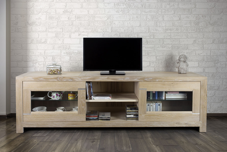 Meuble Tv 2 Portes Vitr Es Loann En Ch Ne Massif De Style  # Table Tv Metallique Vitree