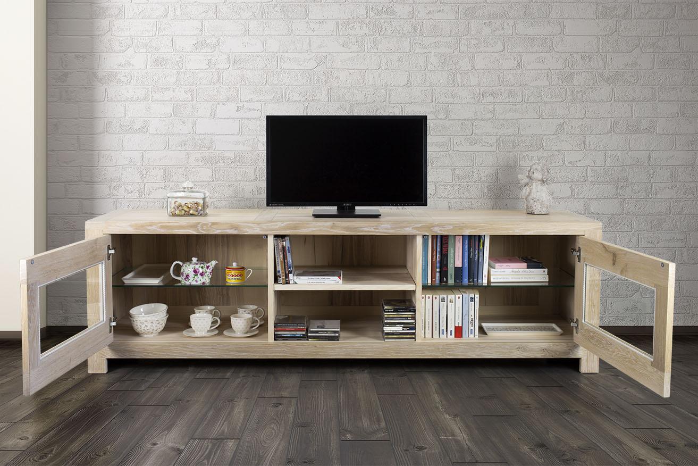 Meuble tv 2 portes vitr es loann en ch ne massif de style for Meuble tv avec porte vitree