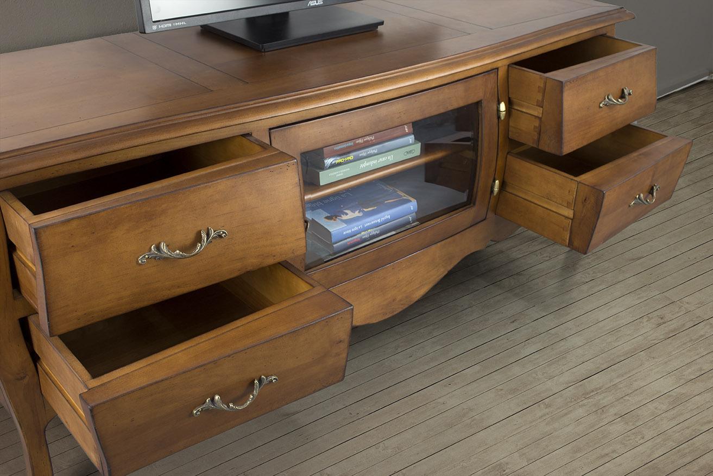 Meuble tv ad le en merisier massif de style louis xv for Finition de meuble en bois