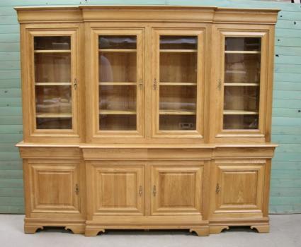 Trés belle bibliothèque 2 corps 4 portes corps avance en chêne massif de style louis philippe meuble en chêne massif