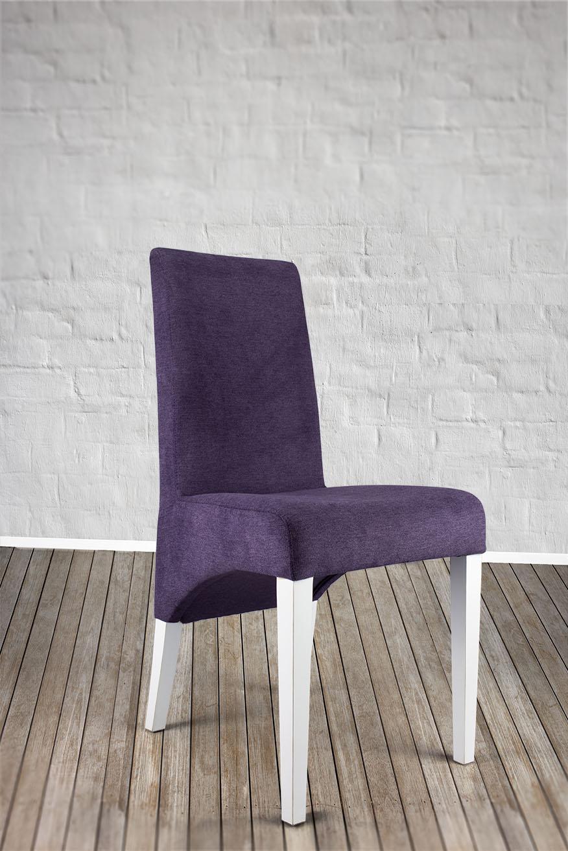 Chaise loann en h tre massif assise et dos capitonn s de couleur violet meu - Chaise en hetre massif ...