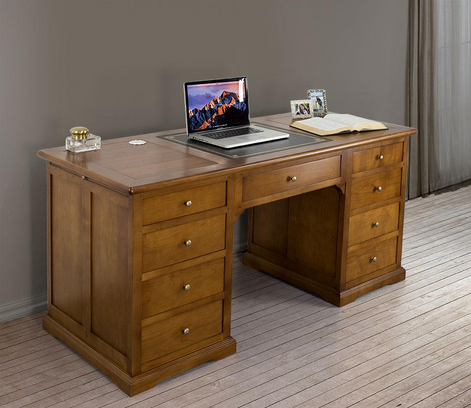 superbe bureau ministre 9 tiroirs en merisier de style louis philippe meuble en merisier massif. Black Bedroom Furniture Sets. Home Design Ideas