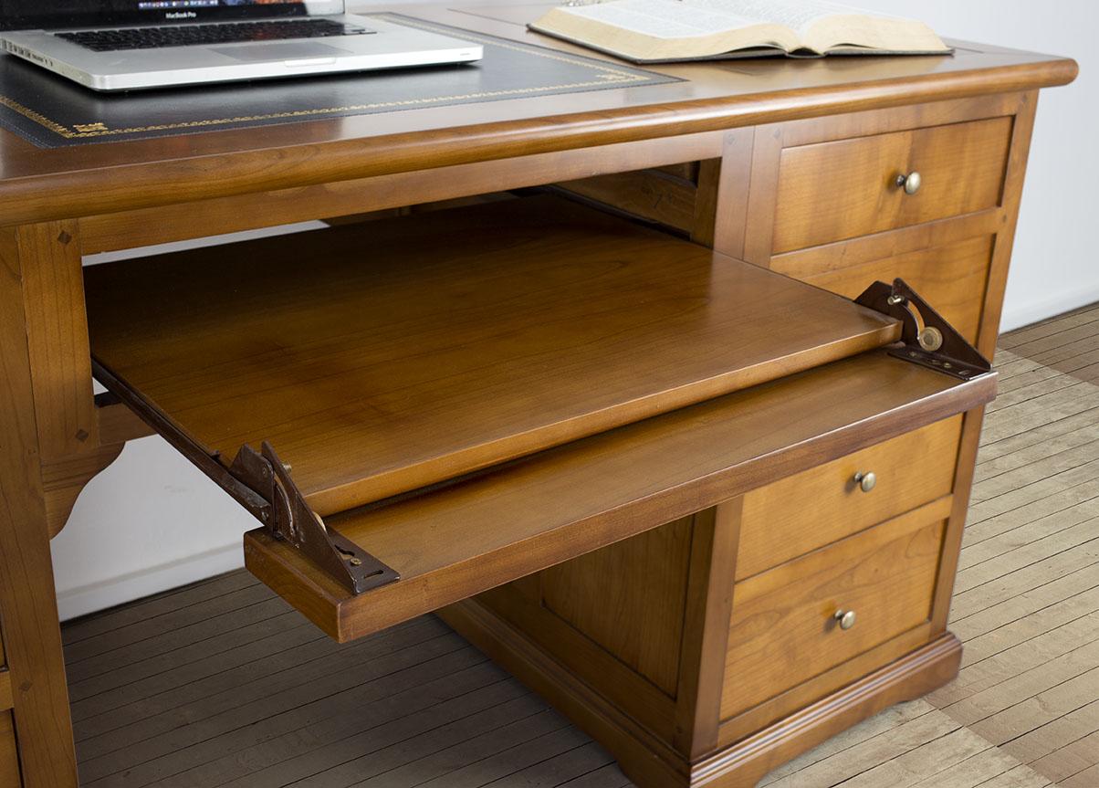 Superbe bureau ministre 9 tiroirs en merisier de style for Bureau merisier