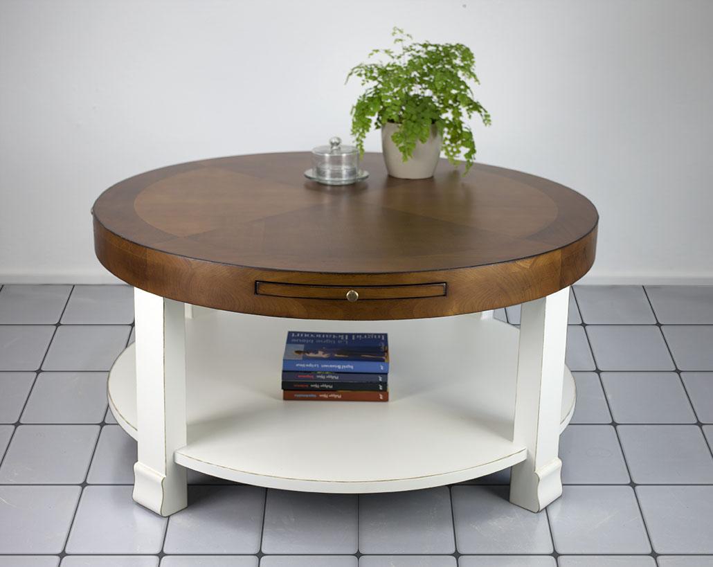 table basse ronde elsa en merisier de style contemporain bi color meuble en merisier massif. Black Bedroom Furniture Sets. Home Design Ideas