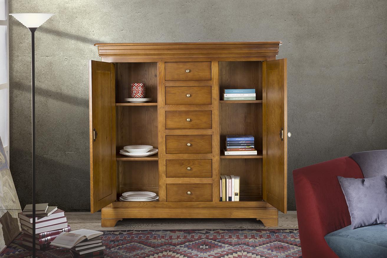 bahut 2 portes 6 tiroirs en ch ne massif de style louis philippe meuble en ch ne massif. Black Bedroom Furniture Sets. Home Design Ideas