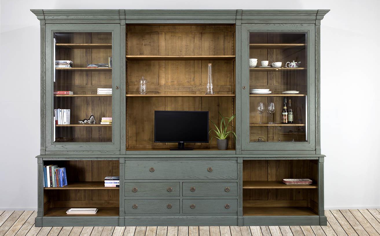 biblioth que 2 corps en ch ne massif de style directoire finition vert antik meuble en ch ne. Black Bedroom Furniture Sets. Home Design Ideas