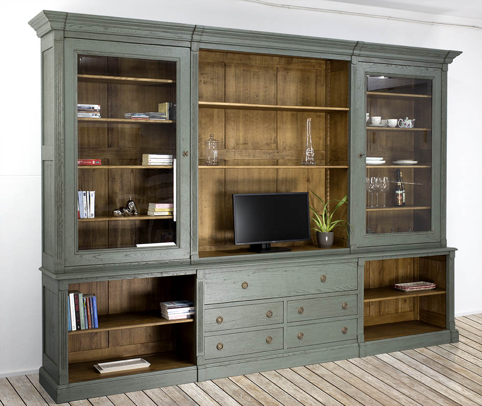 biblioth que 2 corps en ch ne massif de style directoire. Black Bedroom Furniture Sets. Home Design Ideas