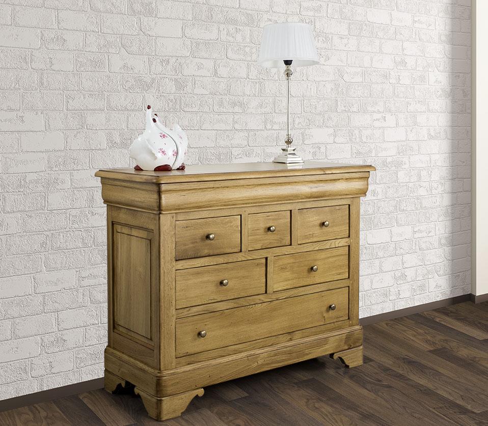 commode ludovic 7 tiroirs en ch ne massif de style louis. Black Bedroom Furniture Sets. Home Design Ideas