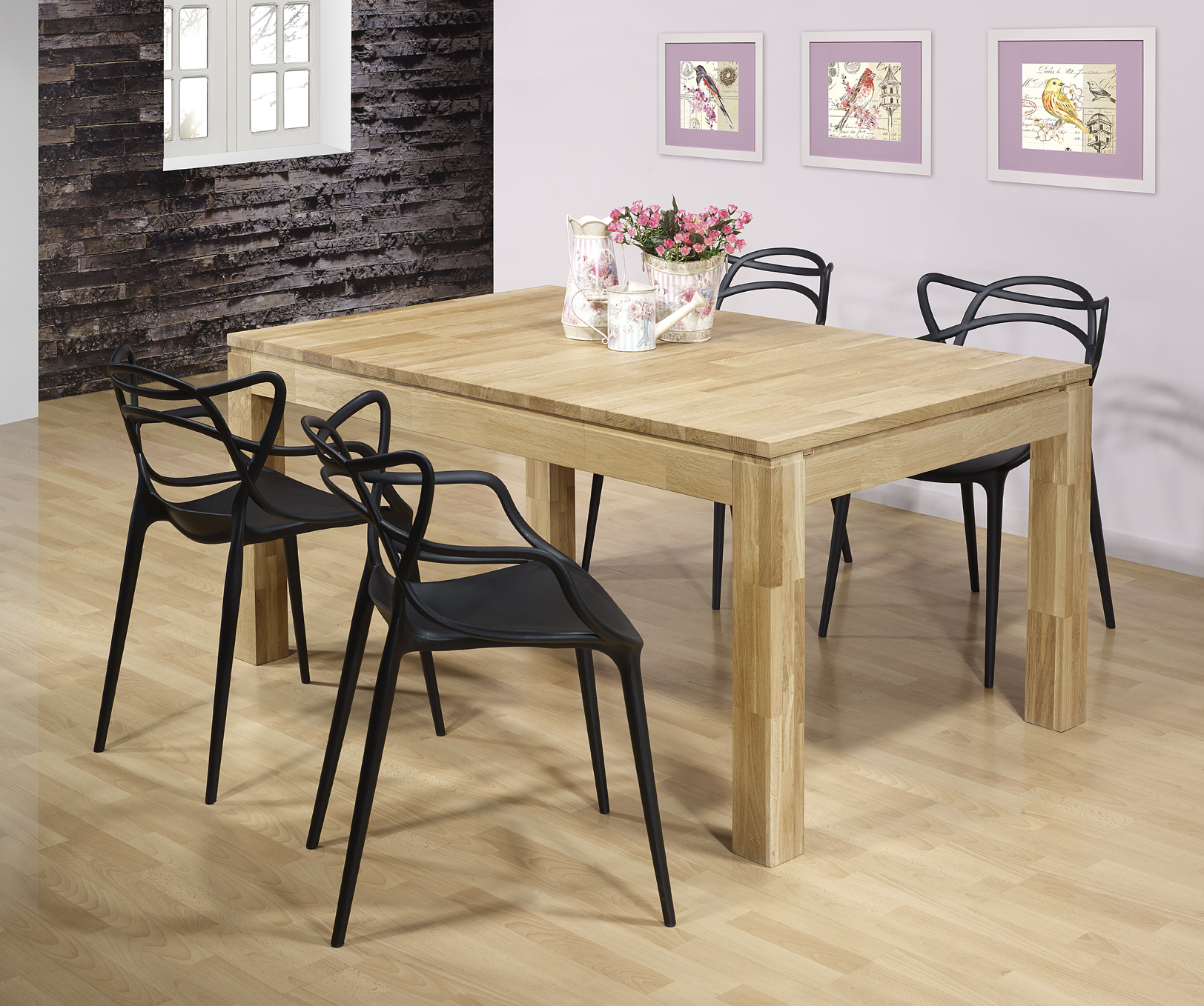 table de repas rectangulaire 160x100 ecolo en ch ne ligne contemporaine meuble en ch ne massif. Black Bedroom Furniture Sets. Home Design Ideas