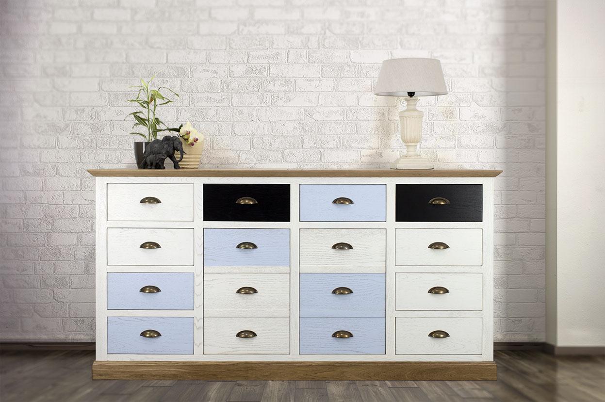 meuble de m tier en ch ne de style campagne muticouleur 10 tiroirs et 2 portes meuble en. Black Bedroom Furniture Sets. Home Design Ideas